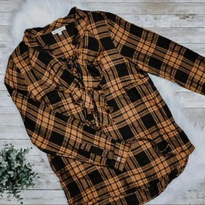 Jane and Delancey Lace Up Flannel with Ruffle